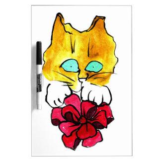 Gato rojo grande del arco y del jengibre - Sumi-e Pizarra Blanca