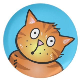 Gato rojo lindo del dibujo animado - placa platos
