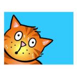 Gato rojo lindo del dibujo animado - postal