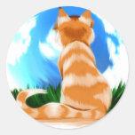 Gato rojo pegatina redonda