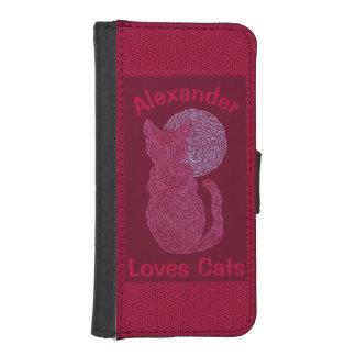 Gato rojo y el gatito felino del amante del gato billetera para teléfono