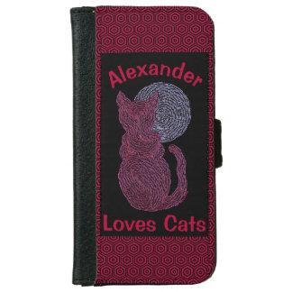 Gato rojo y el gatito felino del amante del gato funda cartera para iPhone 6