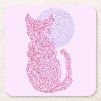 Gato rojo y la diversión felina del gatito del posavasos personalizable cuadrado