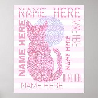 Gato rojo y las rayas del amante del gato de la póster
