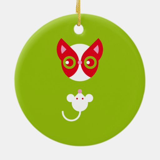 Gato rojo y ratón blanco adorno navideño redondo de cerámica