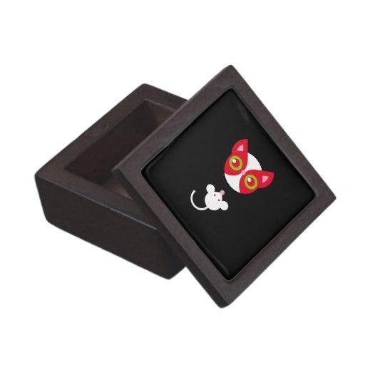 Gato rojo y ratón blanco caja de recuerdo de calidad