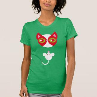 Gato rojo y ratón blanco camisetas