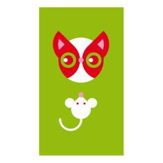 Gato rojo y ratón blanco tarjetas de visita
