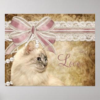 Gato romántico hermoso del gatito póster