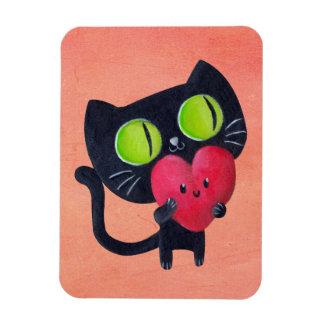 Gato romántico imán de vinilo