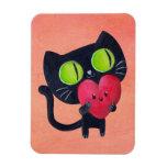 Gato romántico imán rectangular