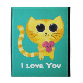 Gato romántico lindo con el corazón