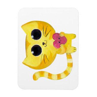 Gato romántico lindo con el corazón sonriente rectangle magnet