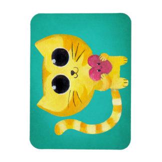 Gato romántico lindo con el corazón sonriente imán rectangular