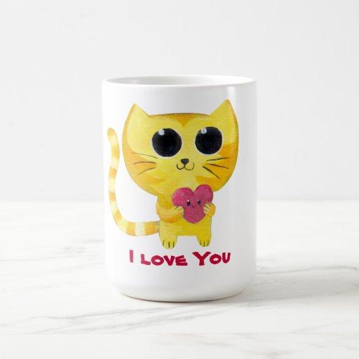 Gato romántico lindo con el corazón taza