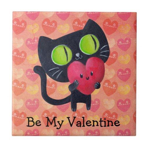 Gato romántico negro azulejo cuadrado pequeño