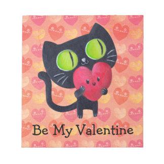 Gato romántico negro blocs de papel