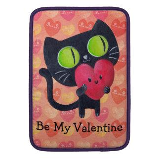 Gato romántico negro fundas MacBook