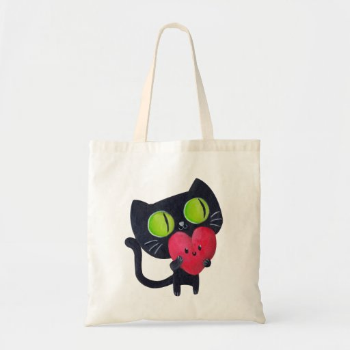 Gato romántico que abraza el corazón lindo rojo bolsas