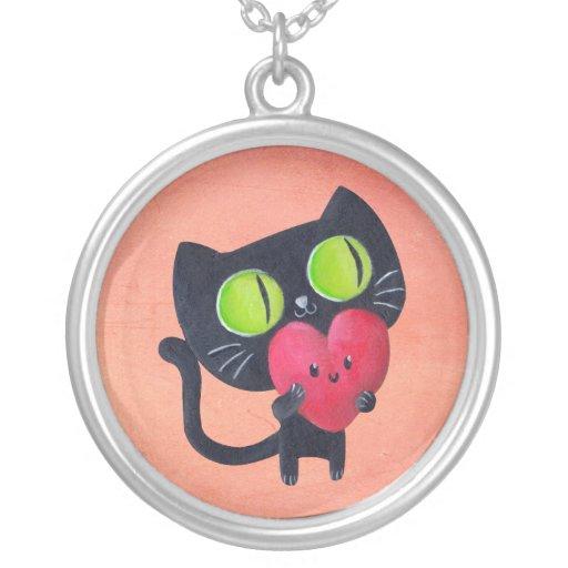 Gato romántico que abraza el corazón lindo rojo colgante personalizado