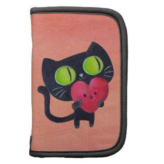 Gato romántico que abraza el corazón lindo rojo organizador