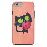 Gato romántico que abraza el corazón lindo rojo funda de iPhone 6 tough