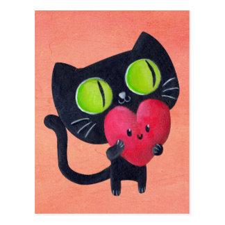 Gato romántico que abraza el corazón lindo rojo postales