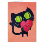 Gato romántico que abraza el corazón lindo rojo tarjeta de felicitación