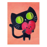 Gato romántico que abraza el corazón lindo rojo postal