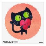 Gato romántico que abraza el corazón lindo rojo vinilo