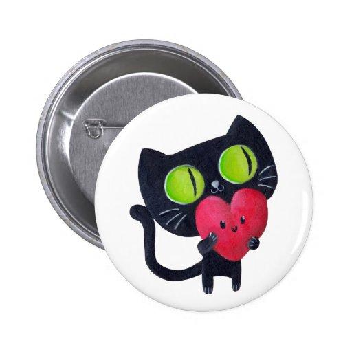 Gato romántico - texto de encargo - pin redondo de 2 pulgadas