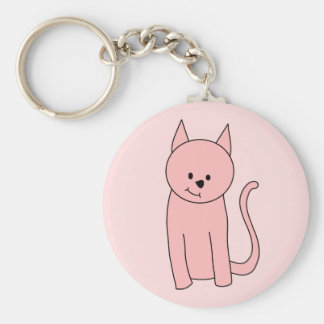 Gato rosado bonito lindo llavero redondo tipo pin