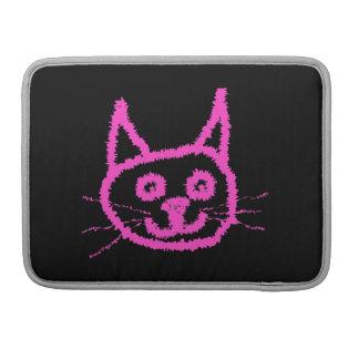 Gato rosado brillante en negro funda para macbooks
