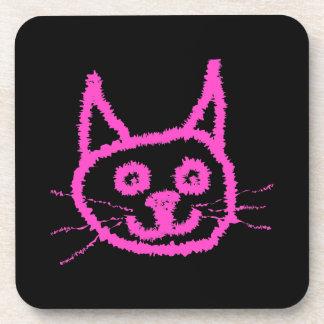 Gato rosado brillante en negro posavaso