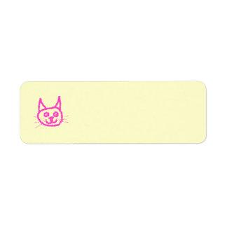 Gato rosado brillante etiqueta de remitente