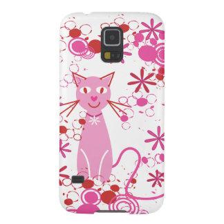 Gato rosado de lujo carcasa para galaxy s5
