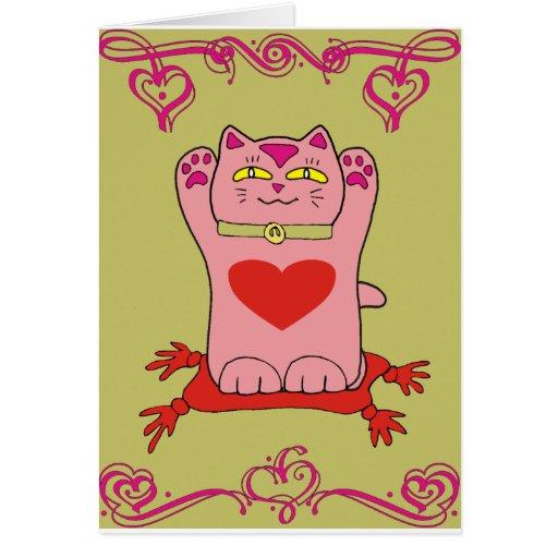Gato rosado de Maneki Neko con los corazones Tarjeta