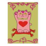 Gato rosado de Maneki Neko con los corazones Tarjeta Postal