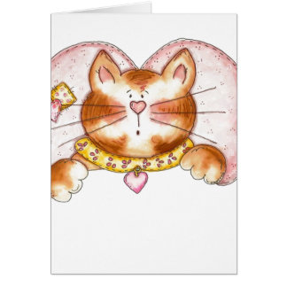 Gato rosado del ángel tarjeta de felicitación