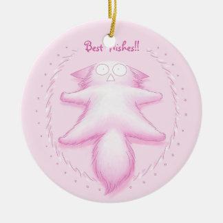 Gato rosado del caramelo de algodón adorno navideño redondo de cerámica