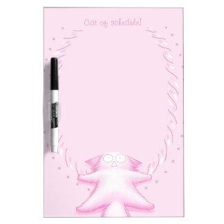 Gato rosado del caramelo de algodón tablero blanco