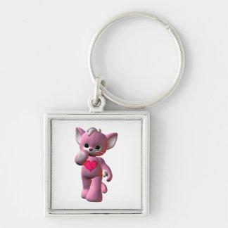Gato rosado del corazón llavero personalizado