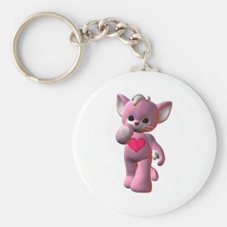 Gato rosado del corazón llaveros personalizados