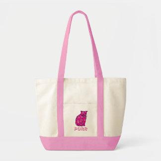 Gato rosado del gatito bolsa tela impulso
