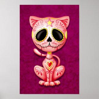 Gato rosado del gatito del azúcar del zombi posters