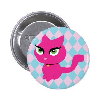 Gato rosado del gatito pin redondo de 2 pulgadas
