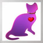 Gato rosado del gatito poster
