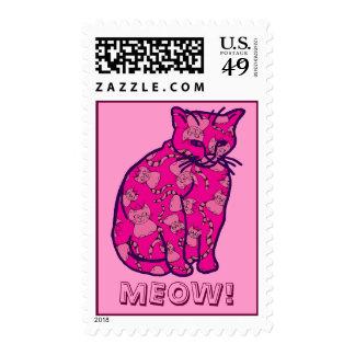 Gato rosado del gatito franqueo