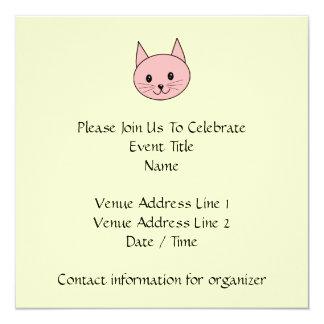 """Gato rosado invitación 5.25"""" x 5.25"""""""