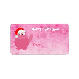 Gato rosado lindo de Santa del navidad Etiquetas De Dirección